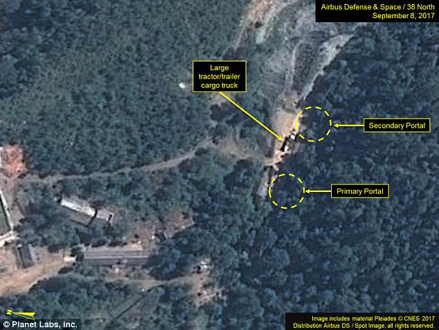 However increased activity around the South Portal suggests the regime could be preparing the site for future tests, despite the UN sanctions