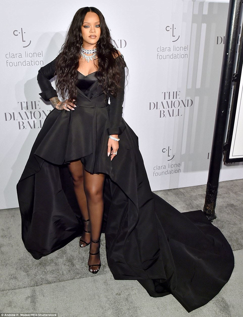 She's arrived! Rihanna arrived at her 3rd Annual Clara Lionel Foundation Diamond Ball in New York on Thursday in a dramatic black gown