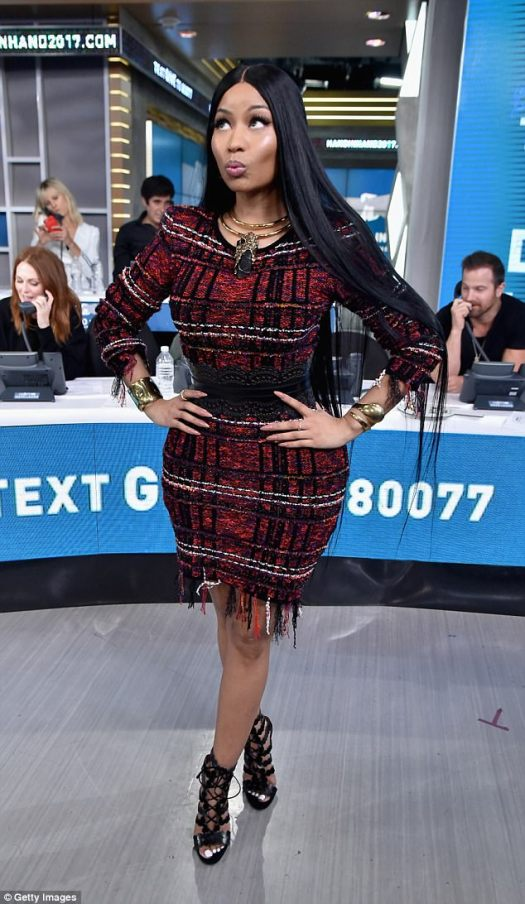 Busy beauty: Nicki was seen Tuesday at the Hand in Hand telethon in NYC, which raised funds in excess of $44 million for victims of Hurricane Harvey