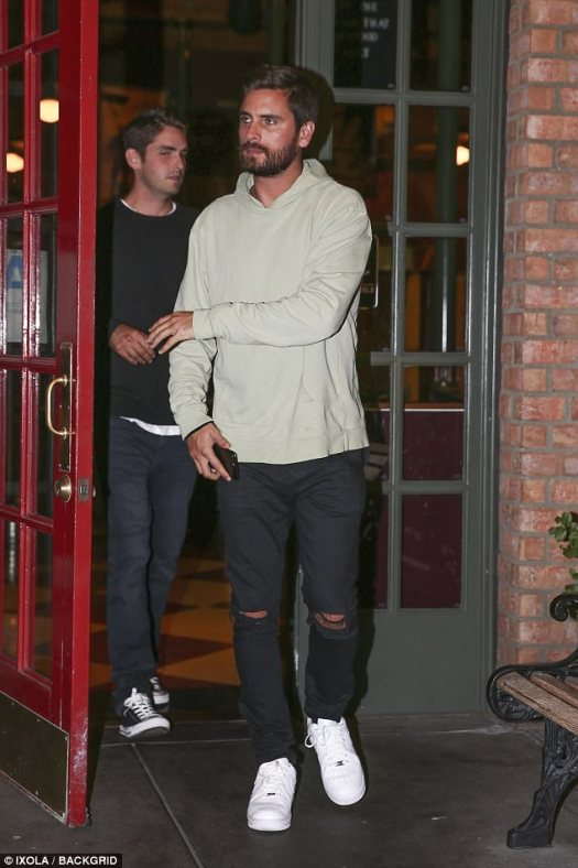 Disick and tired: The 34-year-old reality star looked knackered as he emerged from King's Fish House with a pal