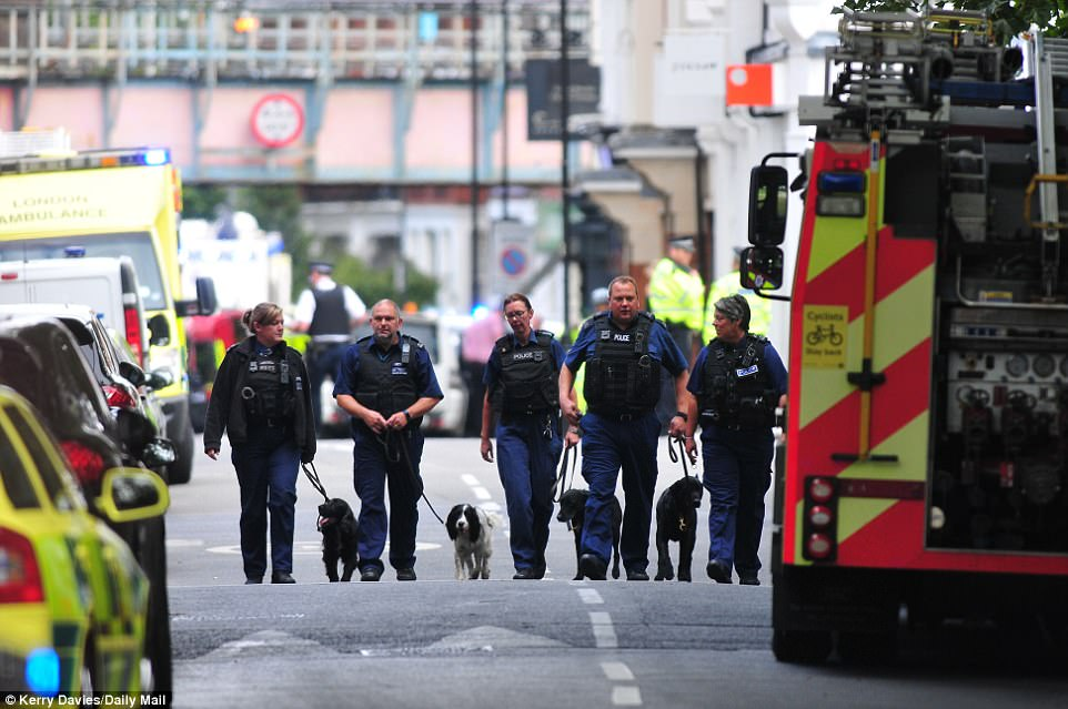 Sniffer dogs are also searching around the cordoned off area amid claims that there are other devices