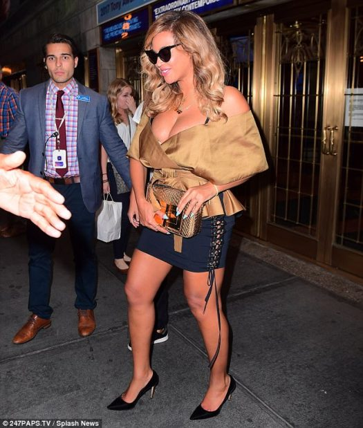 Proud mother:Beyoncé's appearance in New York comes just three months after she welcomed twins with Jay Z