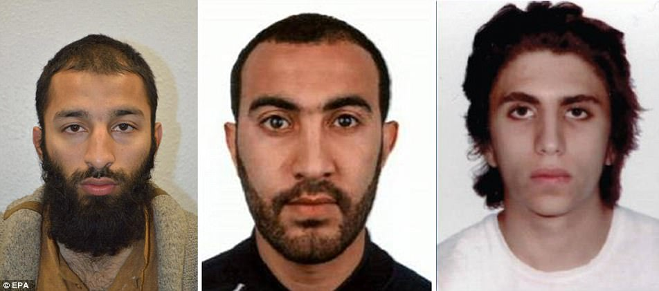 Khuram Butt, 27, Rachid Redouane, 30, and Youssef Zaghba, 22 - were shot dead by police