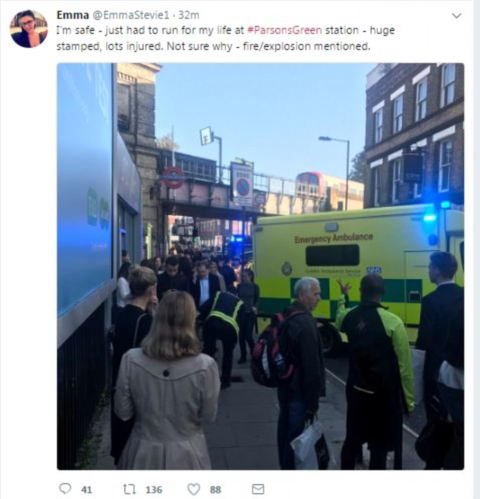 The London Ambulance Service was called at 8:20am and sent single responders in cars, ambulance crews, incident response officers and a hazardous area response team