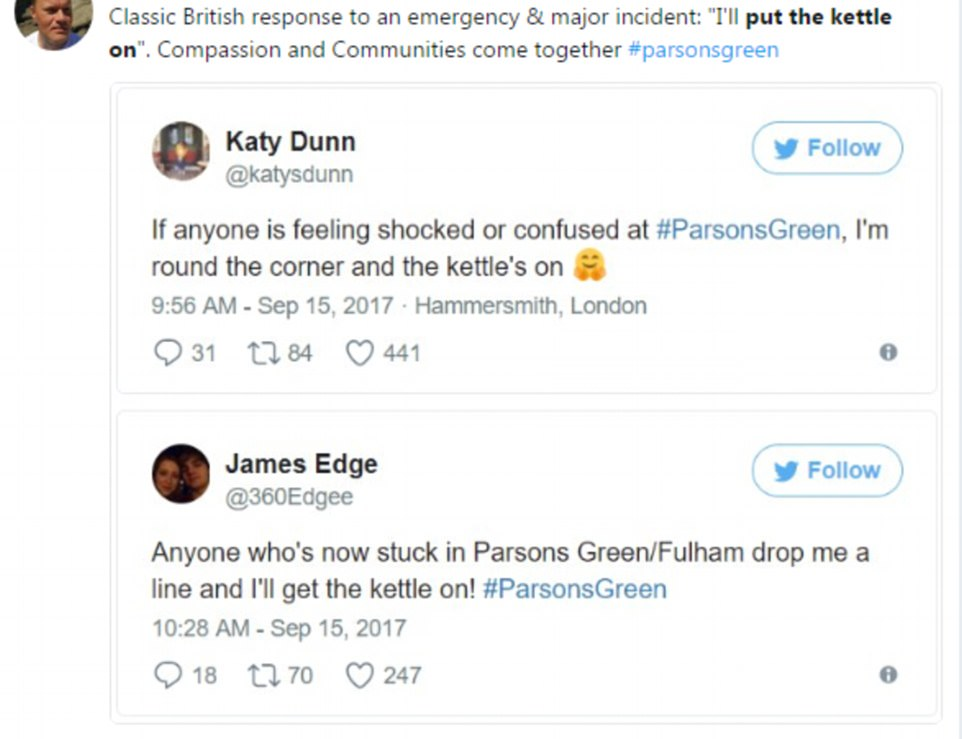 Social media awash with people offering to 'put the kettle on' for those affected by the Parsons Green bomb blast