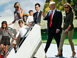 Ivanka, Jared and their three children were seen leaving the plane at Morristown municipal airport in New Jersey