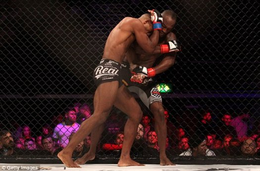 But mixed martial arts fighter Jones (left) was beaten in the headline match by Alex Lohore