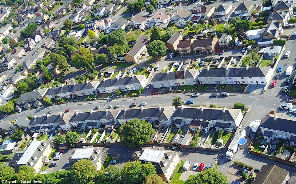 An aerial view of Cavendish Road in Sudbury-on-Thames where the house that has been raided is located