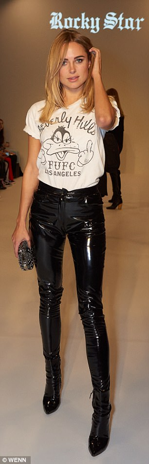 Legs for days: Kimberly Garner, who enjoyed a fleeting stint on Made In Chelsea, rocked some skintight leather trousers