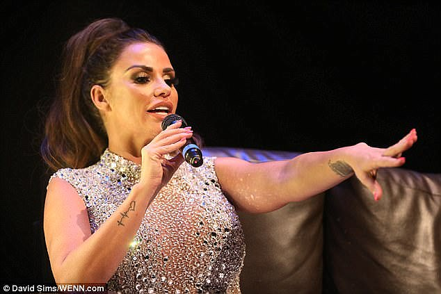 Outspoken:Katie Price may be having second thoughts about her acrimonious split after she hinted she would forgive her cheating spouse during the latest date on her public speaking tour in Swindon on Saturday