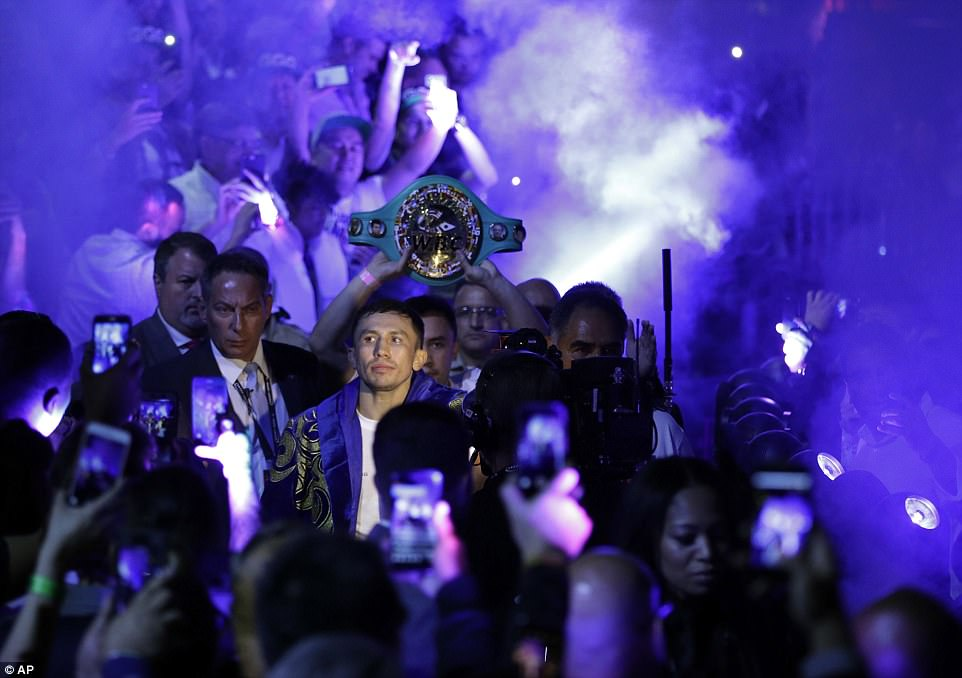 Golovkin calmly made his way to the ring as Seven Nation Army by The White Stripes played out at the T-Mobile Arena