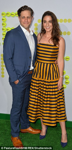 Coupling up! Also there were married directing duo Jonathan Dayton and Valerie Faris as well as yellow-striped composer Sara Bareilles and her boyfriend, Waitress thespian Joe Tippett