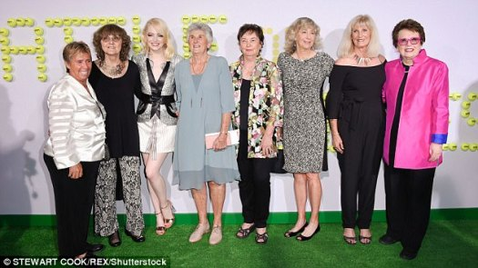 Having a ball! Fox Searchlight Pictures also invited tennis champs (from L-R) Rosie Casals, Peaches Bartkowicz, Judy Tegart-Dalton, Kerry Melville Reid, Kristy Pigeon, and Valerie Ziegenfuss to the glitzy gala