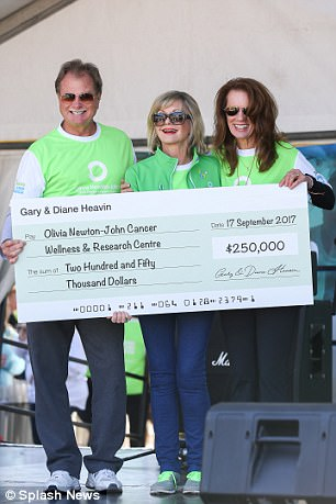 Thankful: While Olivia was all smiles throughout the event it appeared that she was overcome with emotion at one point, after being presented with a cheque for $250,000 from Curves Fitness founder Gary Heavin and his wife Diane