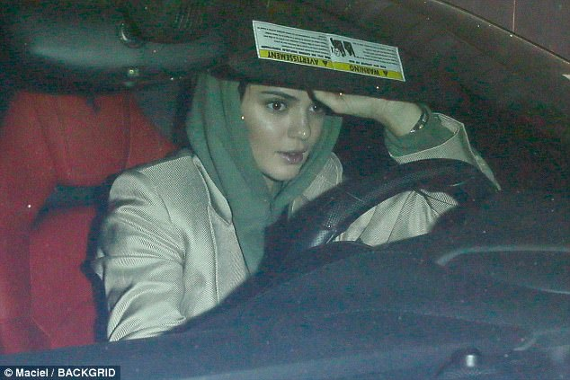 Quick getaway: Kendall Jenner was spotted leaving Craig's in west Hollywood, Los Angeles, on Saturday night after allegedly meeting up with basketball player Blake Griffin for dinner