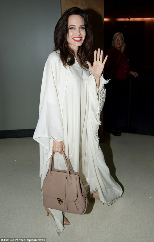 Glamorous: Angelina Jolie was once again dressed to impress when she arrived at the Q&A for the upcoming documentary in Los Angeles on Saturday, looking elegant as ever