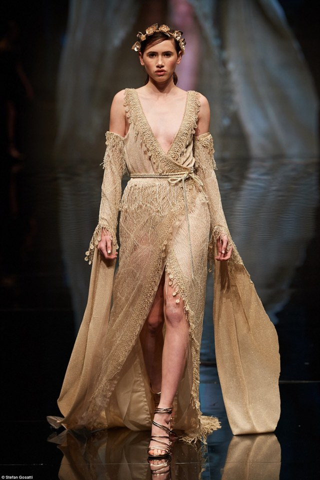 A Future Runway designer took inspiration from ancient Greece for this luxe floor-length gold evening gown