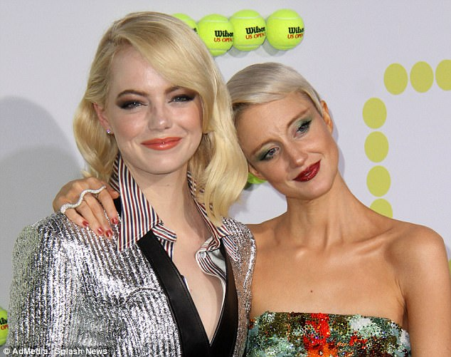Stunning: Both Emma and Andrea opted for heavy smokey eye looks