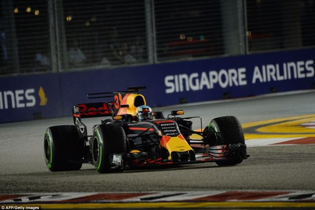 Hamilton was in pole position for the race now but Red Bull's Daniel Ricciardo was not giving up easily