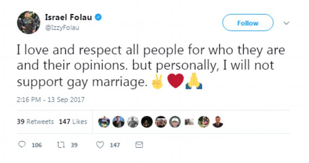 It follows a controversial tweet (pictured) from Wallabies player Israel Folau last week, declaring he would be voting no, in-line with his Pentecostal Christian faith