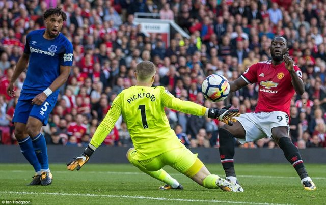 Romelu Lukaku missed a glorious chance to double United's lead after a mistake from Michael Keane but he fired wide