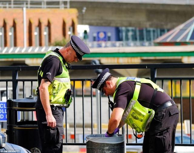Police were seen searching bins outside Dover Priory railway station on prompting suggestions the suspect may have arrived in the town by train