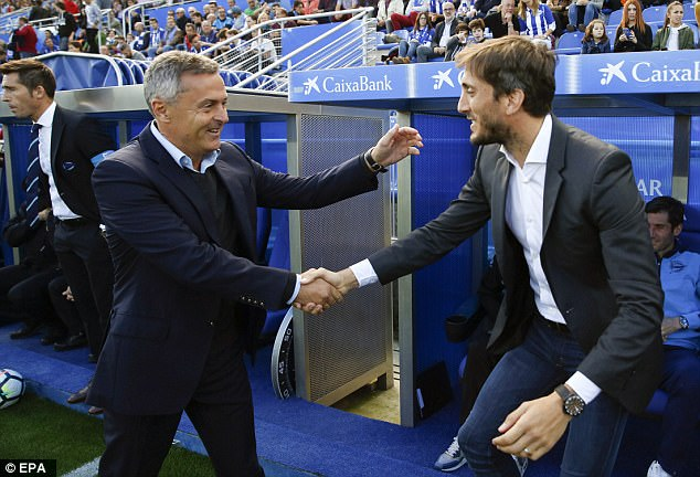 Luis Zubeldia (right) lasted just 92 days in charge of Alaves after a disastrous start to his reign