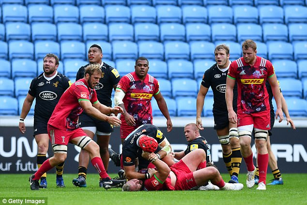 Wasps back row Haskell and Harlequins prop Marler didn't see eye-to-eye in the first half