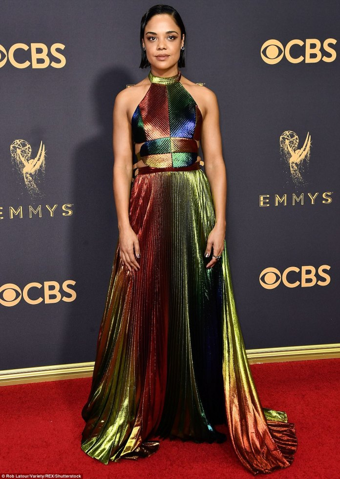 A colorful catastrophe:Thor: Ragnarok actress Tessa Thompson's dress closely mirrored the crazy colors in an oil slick