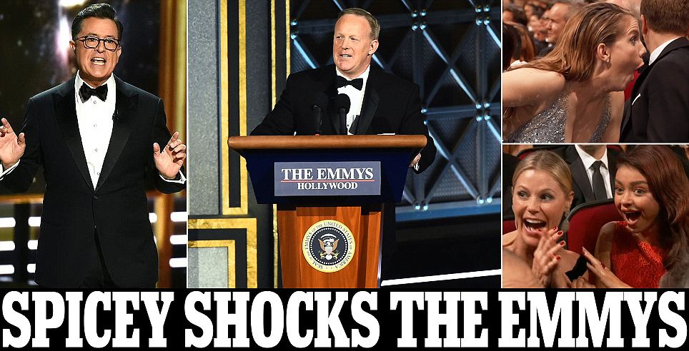 Sean Spicer helps Colbert mock Trump at the Emmys