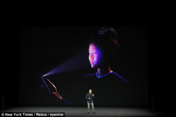 Phil Schiller, senior vice president of worldwide marketing at Apple, speaks about the Face ID feature to unlock the iPhone X during the company's event at the new Steve Jobs Theater in Cupertino