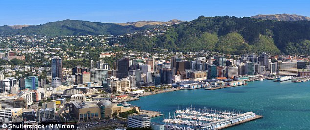 Residents of Wellington (pictured, stock image) reported feeling the second of two quakes to hit New Zealand on Wednesday