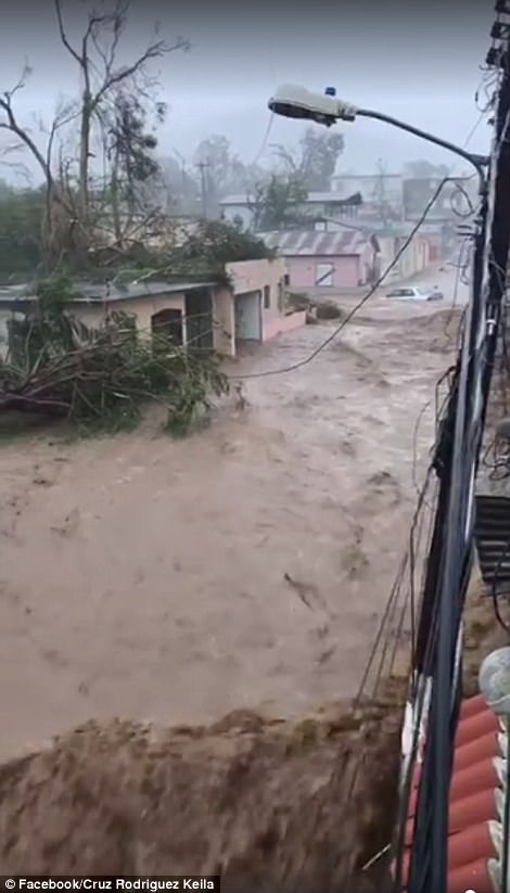 In a video posted to Facebook, one Puerto Rican shows off the flooding in the town of Guayama