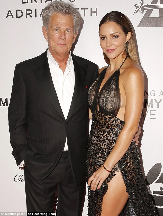 Moving on? David walked the red carpet with much younger rumored lover Katherine McPheeat the Grammy Museum Gala on Tuesday