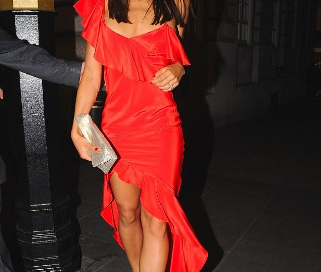 Lady In Red Emma Mcquiston  Viscountess Weymouth Leaving Loulous On Sunday