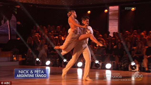 Mixed reviews: The judges gave Nick and Peta just 19 points for their dance