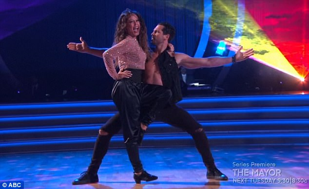Party time: Vanessa and her pro partner Maksim Chmerkovskiy performed a saucy salsa
