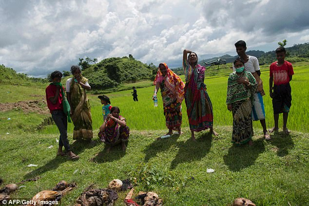 Myanmar's army has accused Rohingya Muslims of massacring Hindu villagers in Rakhine state after the bodies of 45 people, including women and children, were found in mass graves