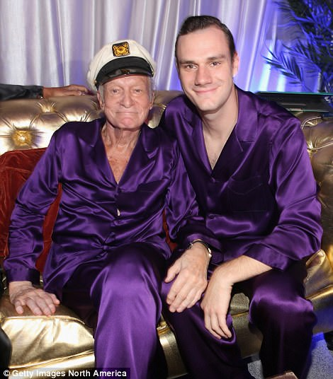 Hefner is survived by four children including son Cooper (pictured), who is the chief creative officer of Playboy