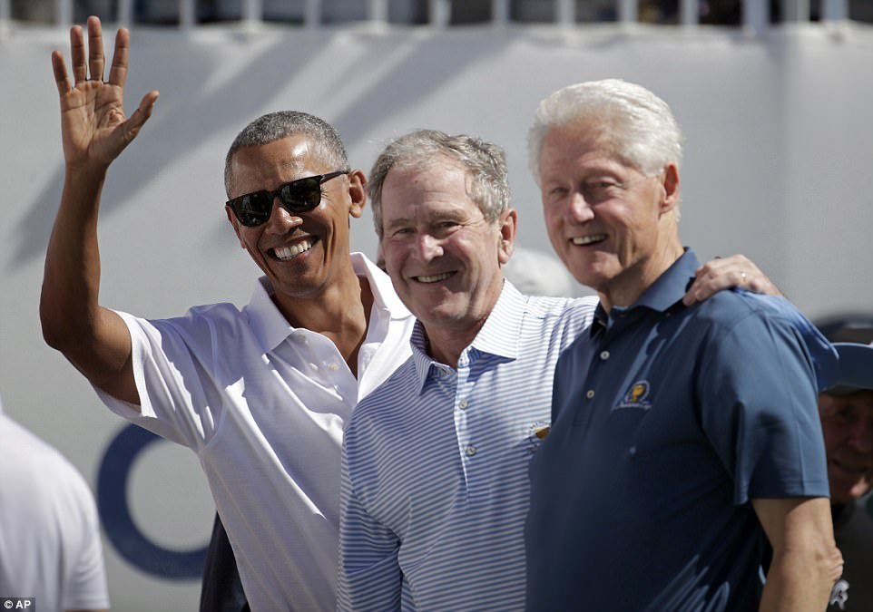 Former Presidents Barack Obama, George W. Bush and Bill Clinton were all smiles as they attended the Presidents Cup in New Jersey
