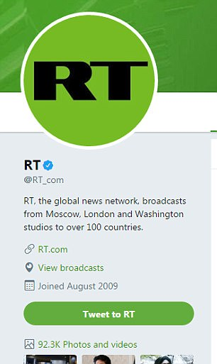 Hey big spenders: Twitter said it had found that RT, the Kremlin's propaganda outlet, spent $274,100 on Twitter advertisements and promoted 1,823 tweets potentially aimed at the U.S. market in 2016