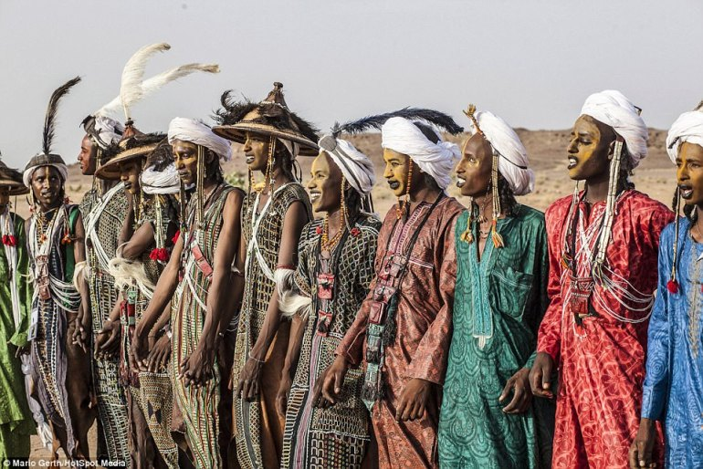 The Gerewol is part of the so-called 'Festival of the Nomads' - where the Wodaabe and Tuareg people gather to mark the end of the rainy season in Niger