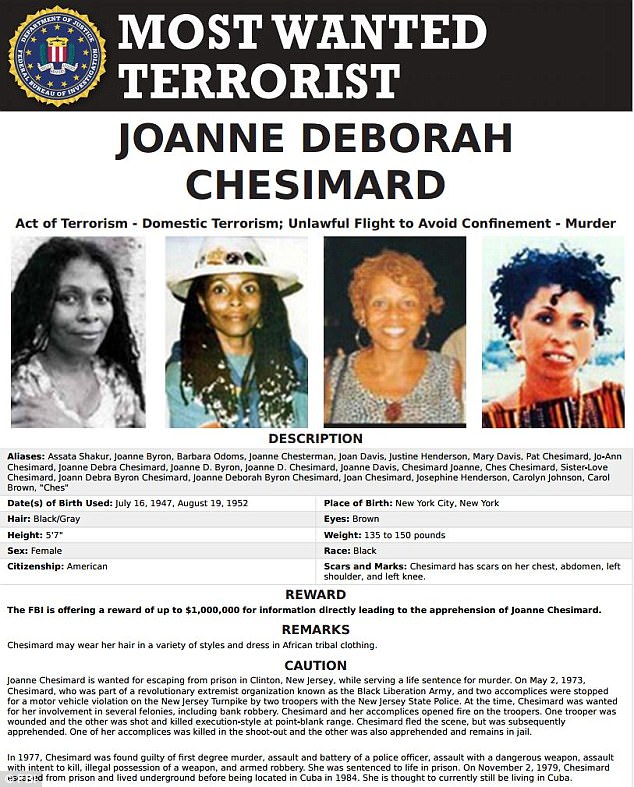 Shakur, whose legal name is JoAnne Chesimard, is currently on the FBI's Most Wanted list