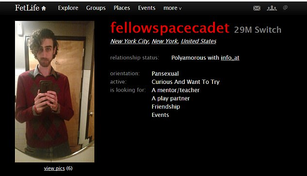 Michael Isaacson, 29, appeared in a profile on the website Fetlife earlier this year before he became notorious for his anti-fa beliefs and anti-police comments