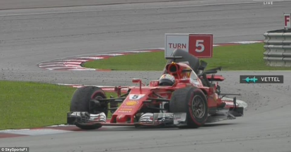 Vettel's Malaysian Grand Prix ended in bizarre circumstances following a late crash following conclusion of the race