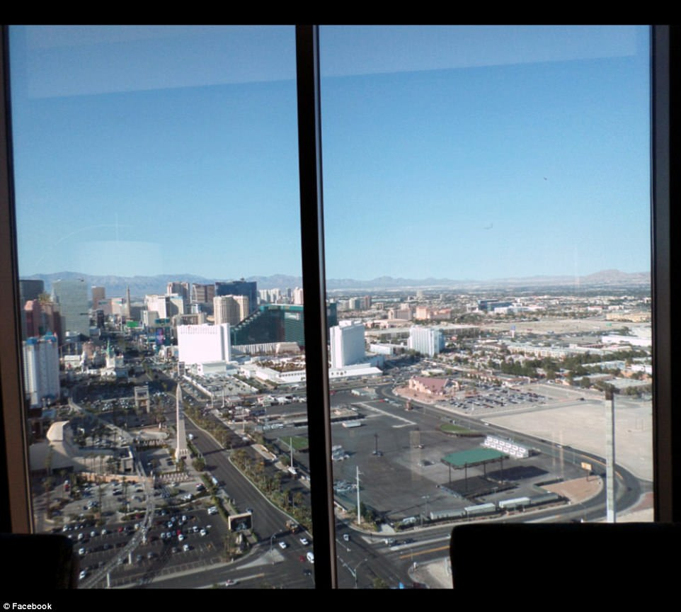 Above, the view from the 32nd floor of the Mandalay Bay hotel, in an updated photo. The concert was taking place diagonally across the street, where the stage is seen.