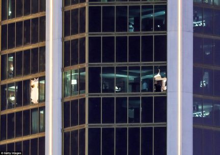 Inside the nest: The smashed windows from the suite taken out by Paddock at the Mandalay Hotel in Las Vegas