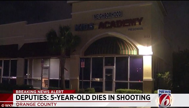 Judah Todman, aged 5, tragically died after accidentally shooting himself Tuesday afternoon  in the parking lot of Neighborhood Kids Academy (above) in Orange County, Florida