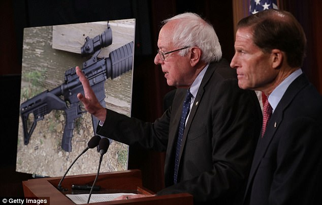 Sen. Dianne Feinstein was joined at a press conference by Sen. Bernie Sanders, I-Vt. (left), and Sen. Richard Blumenthal, D-Conn. (right)