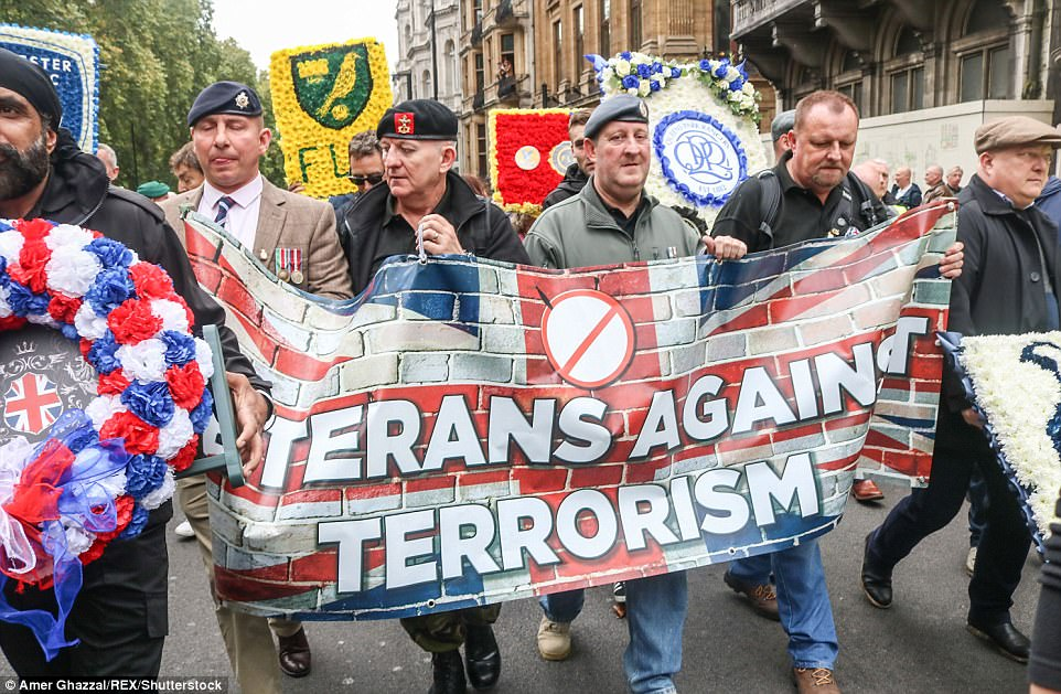 Ex-servicemen marched alongside the Football Lads Alliance in a demonstration against recent terror attacks that have hit the UK